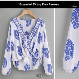 Blue & White Feather Top